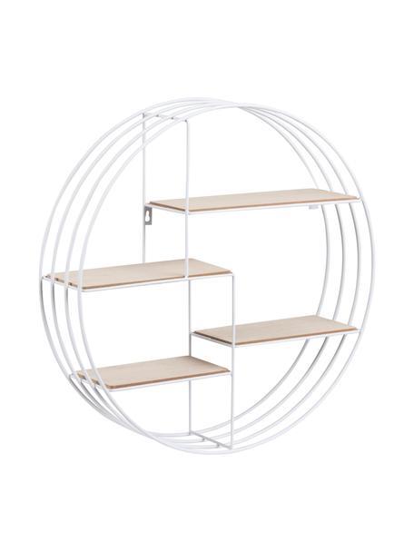 Libreria rotonda da parete Darkenberg, Struttura: metallo, Ripiani: Paulownia, Bianco, Ø 45 cm