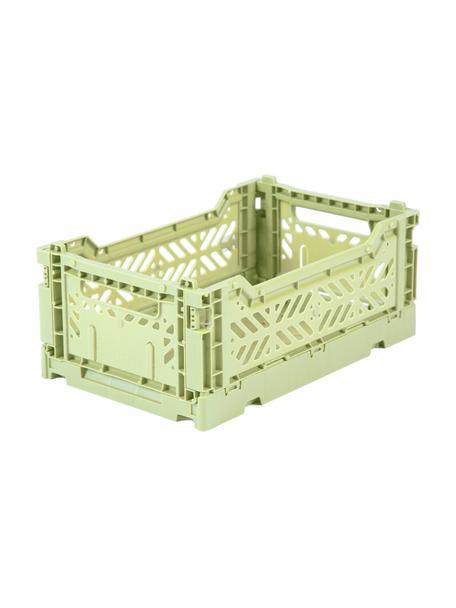 Caja plegable apilable Melon, pequeña, Plástico reciclado, Verde melón, An 27 x Al 11 cm