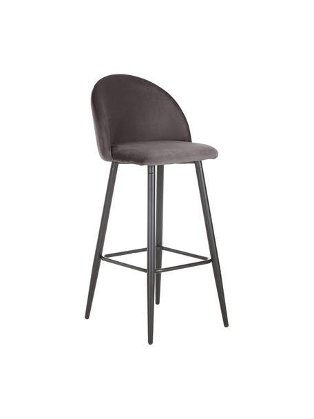 Krzesło barowe z aksamitu Amy, Tapicerka: aksamit (poliester) Dzięk, Nogi: metal malowany proszkowo, Szary, S 45 x W 103 cm