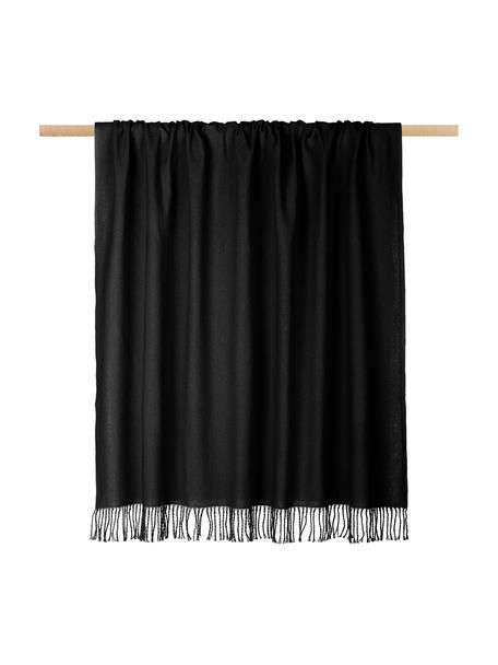 Monochroom plaid Madison in zwart met franjes, 100% katoen, Zwart, 130 x 170 cm