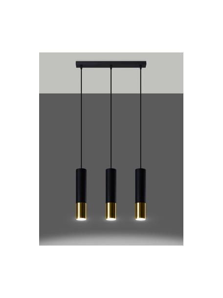 Hanglamp Longbot in zwart-goudkleur, Lampenkap: gecoat staal, Baldakijn: gecoat staal, Frame: zwart gelakt eikenhout. Voet: goudkleurig, 40 x 30 cm