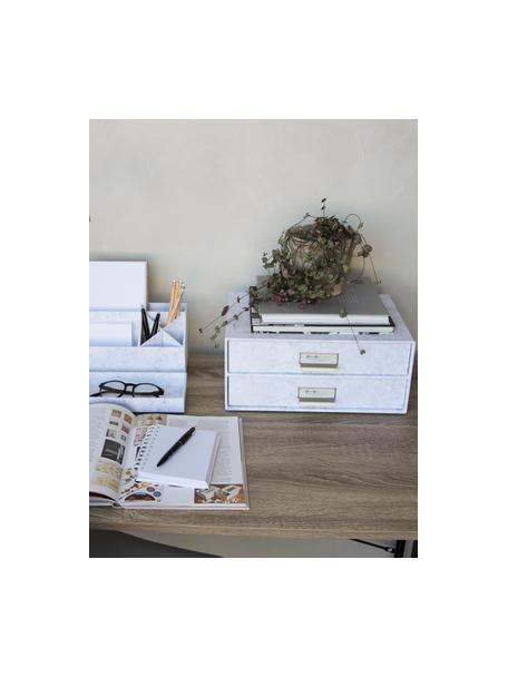 Bureau organizer Birger, Organizer: stevig gelamineerd karton, Gemarmerd wit, 33 x 15 cm