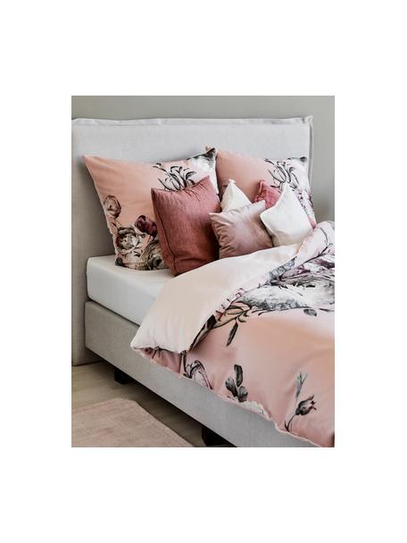 Pościel z satyny bawełnianej Blossom, Wielobarwny, blady różowy, 135 x 200 cm + 1 poduszka 80 x 80 cm