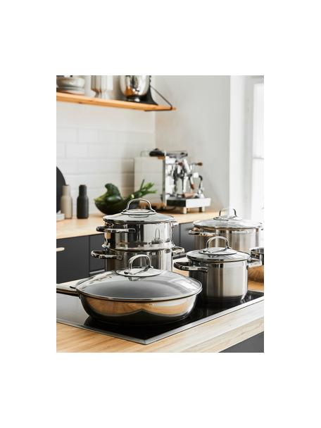 Set de ollas de acero inoxidable Elegance, 7pzas., Acero inoxidable, transparente, Set de diferentes tamaños