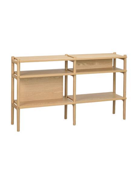 Estantería de madera de roble Holton, Estructura: madera de roble maciza, Beige, An 140 x Al 81 cm