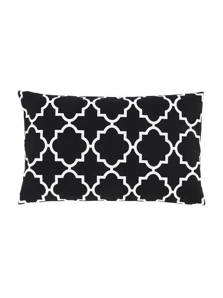 Kissenhülle Lana mit grafischem Muster, 100% Baumwolle, Schwarz, Weiß, 30 x 50 cm