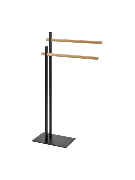 Portasciugamani Brans, Metallo, legno di quercia verniciato, Bianco, legno di quercia, Larg. 30 x Alt. 87 cm