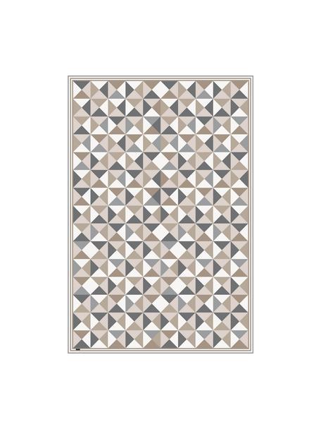 Tappetino piatto antiscivolo in vinile grigio/beige Haakon, Vinile riciclabile, Tonalità grigie, tonalità beige, bianco, Larg. 136 x Lung. 203 cm