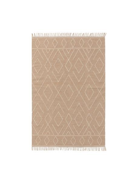 Handgewebter Boho-Baumwollteppich Sydney mit Fransen, 60% Baumwolle, 40% Wolle, Beige, Creme, B 80 x L 150 cm (Größe XS)