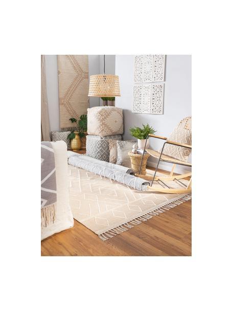 Handgeweven boho vloerkleed Sydney met franjes, 60% katoen, 40% wol, Beige, crèmekleurig, B 80 x L 150 cm (maat XS)