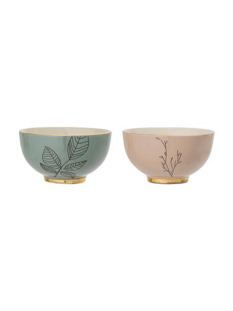Set 2 ciotole Rio, Ceramica, Verde, rosa, Ø 14 x Alt. 8 cm