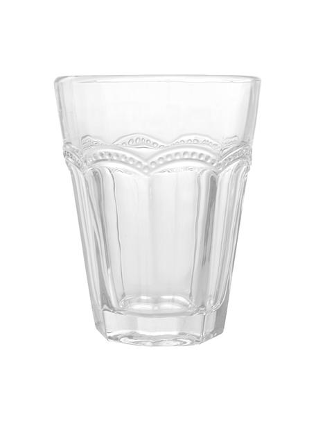 Waterglazen Floyd met gespiegeld reliëf, 6 stuks, Glas, Transparant, Ø 9 x H 11 cm