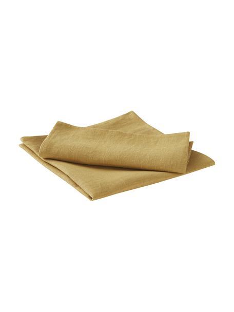 Servilletas de lino Heddie, 2uds., 100%lino, Amarillo, An 45 x L 45 cm