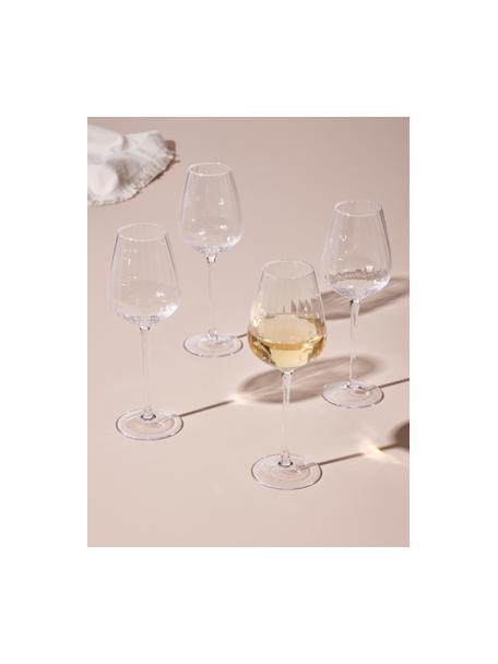 Bicchiere vino bianco con struttura scanalata Akia 4 pz, Vetro, Trasparente, Ø 8 x Alt. 24 cm