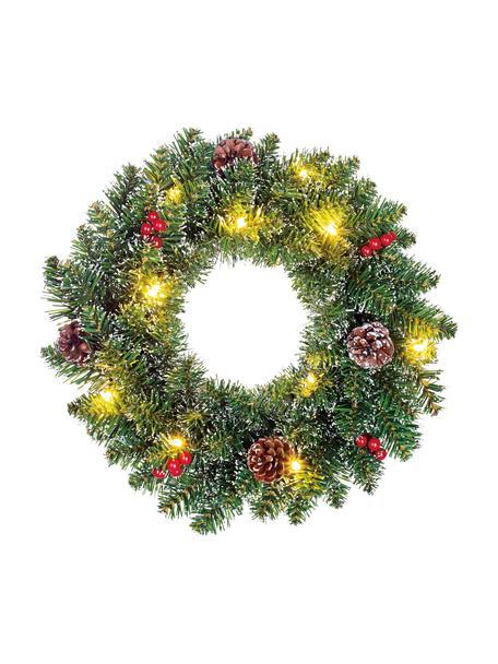 Decoratieve LED kerstkrans Creston, Kunststof, Groen, rood, bruin, Ø 35 cm