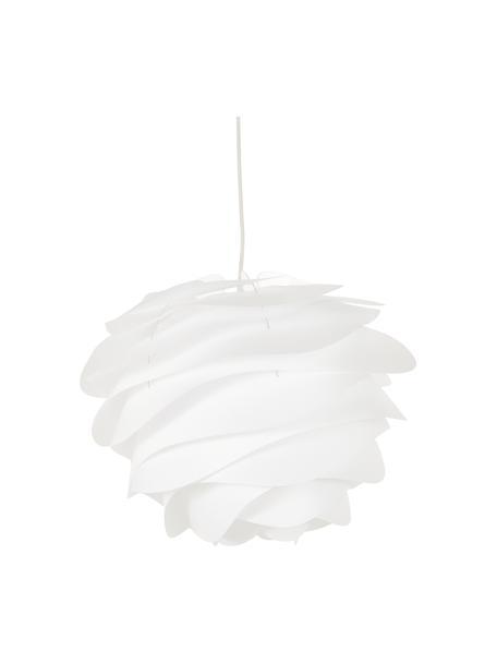 Lámpara de techo Carmina, set para montar, Pantalla: polipropileno, Cable: cubierto en tela, Anclaje: plástico, Blanco, Ø 48 x Al 36 cm