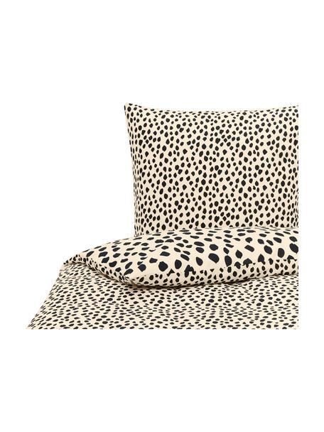 Pościel z bawełny Go Wild, 100% bawełna Produkt wykonany jest z bawełny, jest przyjemnie miękki, dobrze wchłania wilgoć i przeznaczony jest dla alergików, Beżowy,czarny, 135 x 200 cm + 1 poduszka 80 x 80 cm