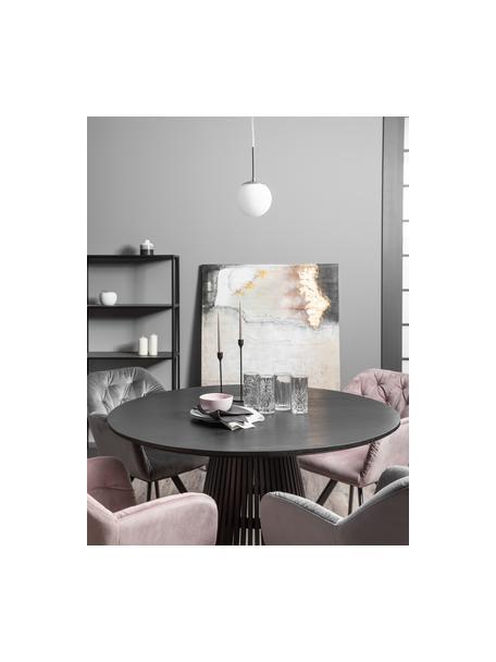 Kleine Pendelleuchte Cafe aus Opalglas, Lampenschirm: Opalglas, Dekor: Metall, Baldachin: Kunststoff, Weiss, Silberfarben, Ø 15 x H 29 cm