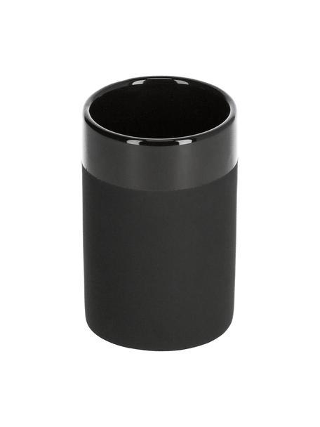 Kubek na szczoteczki z ceramiki Riga, Ceramika, Czarny, Ø 7 x W 10 cm