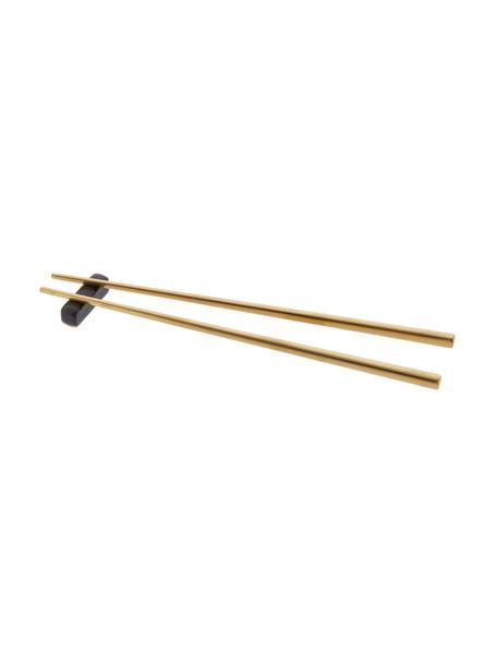 Bacchette dorate in acciaio inossidabile Chop 2 paia, Dorato, nero, Lung. 26 cm