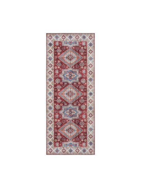 Alfombra Gratia, estilo vintage, 100%poliéster, Rojo rubí, azul, An 80 x L 200 cm
