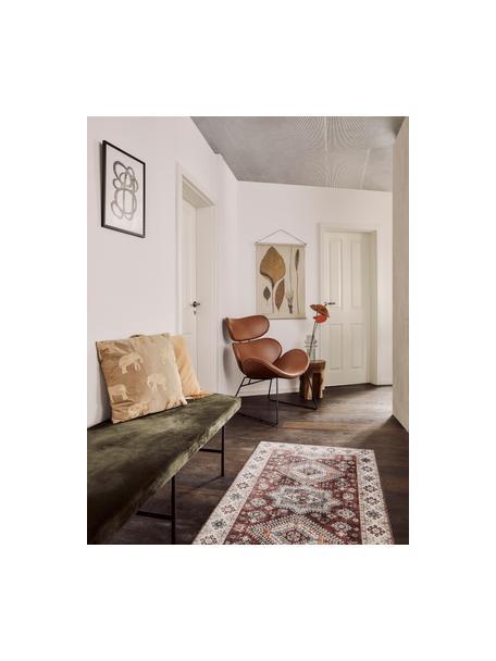 Loper Gratia in vintage stijl, 100% polyester, Robijnrood, blauw, 80 x 200 cm