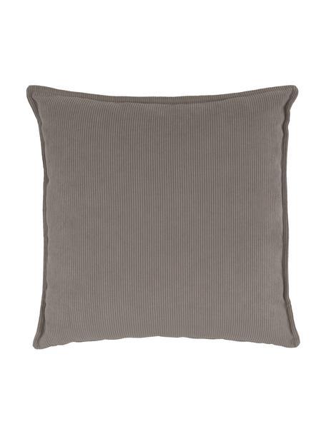 Cuscino arredo in velluto a coste marrone Lennon, Rivestimento: velluto a coste (92% poli, Marrone, Larg. 60 x Lung. 60 cm