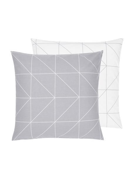 Baumwoll-Wendekissenbezug Marla mit grafischem Muster, 65 x 65 cm, Webart: Renforcé Fadendichte 144 , Grau, Weiss, 65 x 65 cm