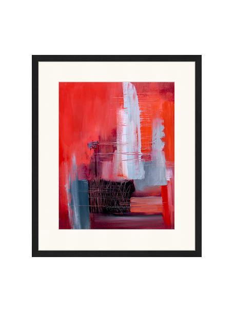 Gerahmter Digitaldruck Abstract Red Art, Bild: Digitaldruck auf Papier, , Rahmen: Holz, lackiert, Front: Plexiglas, Mehrfarbig, 53 x 63 cm