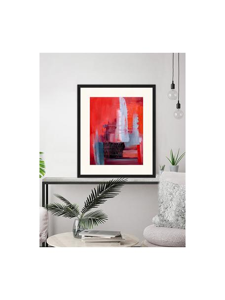 Ingelijste digitale print Abstract Red Art, Afbeelding: digitale print op papier,, Lijst: gelakt hout, Multicolour, 53 x 63 cm