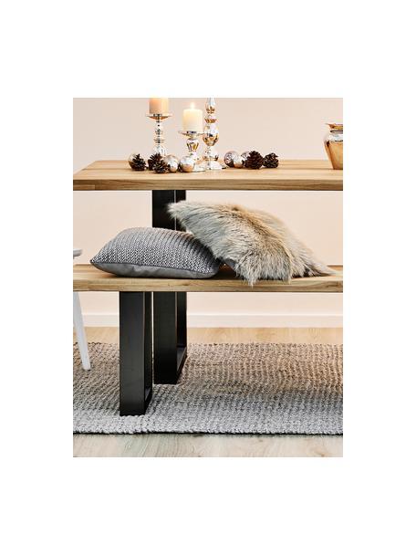 Sitzbank Oliver aus Eichenholz, Sitzfläche: Wildeichenlamellen, massi, Beine: Metall, pulverbeschichtet, Wildeiche, Schwarz, 140 x 45 cm