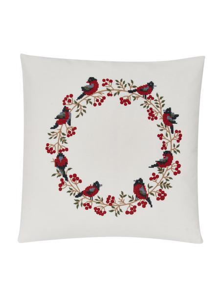 Federa arredo ricamata con motivo invernale Finn, 100% cotone, Multicolore, Larg. 45 x Lung. 45 cm