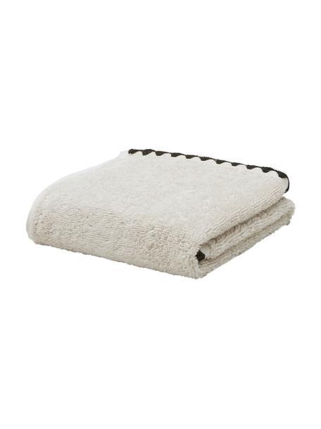 Handtuch Issey in verschiedenen Größen, mit bestickter Borte, Gebrochenes Weiß, Schwarz, Gästehandtuch