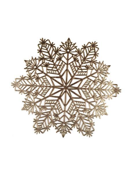 Schneeflocken-Tischsets Snowflake in Gold aus Kunststoff, 2 Stück, Kunststoff (PCV), Goldfarben, Ø 38 cm