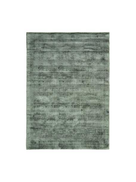 Alfombra artesanal de viscosa Jane, Parte superior: 100%viscosa, Reverso: 100%algodón, Verde, An 80 x L 150 cm (Tamaño XS)