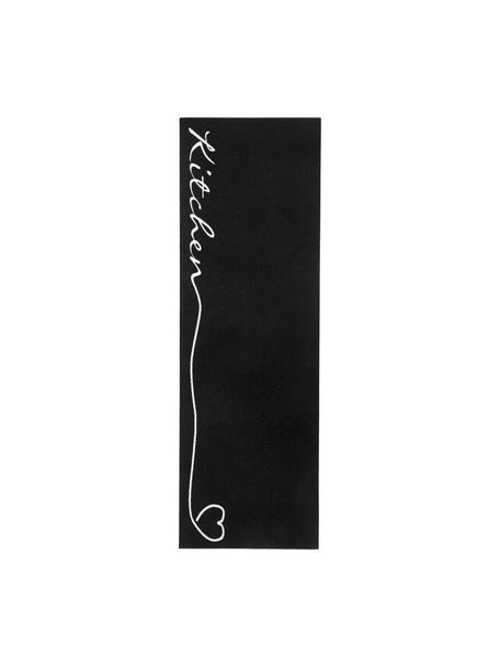 Passatoia da cucina antiscivolo Kitchen, Nero, bianco, Larg. 50 x Lung. 150 cm