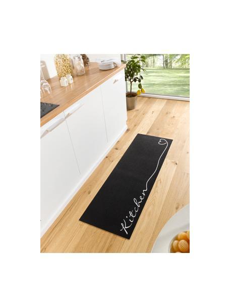 Küchenläufer Kitchen, rutschfest, Oberseite: 100% Polyamid, Unterseite: PVC, Schwarz, Weiss, 50 x 150 cm