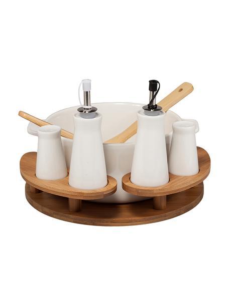 Set de ensalada Bernhard, 8pzas., Estructura: bambú, Blanco, beige, Set de diferentes tamaños