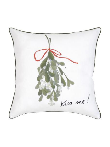 Design kussenhoes Kiss Me van Kera Till, 100% katoen, Kussen: multicolour. Bies: groen, 40 x 40 cm