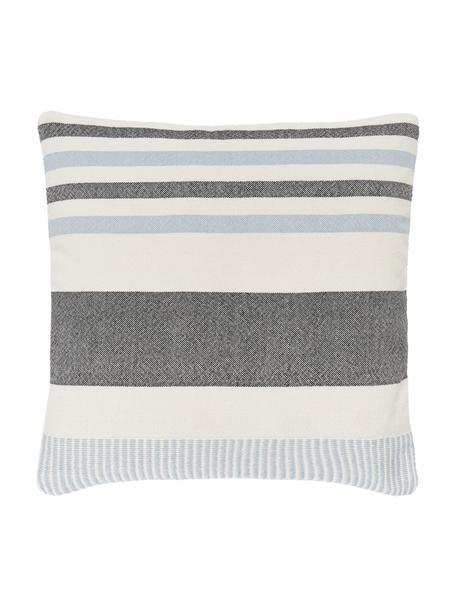 Gestreifte Kissenhülle Lines aus recyceltem Polyester, 100% Recyceltes Polyester, Blau, Weiß, 45 x 45 cm