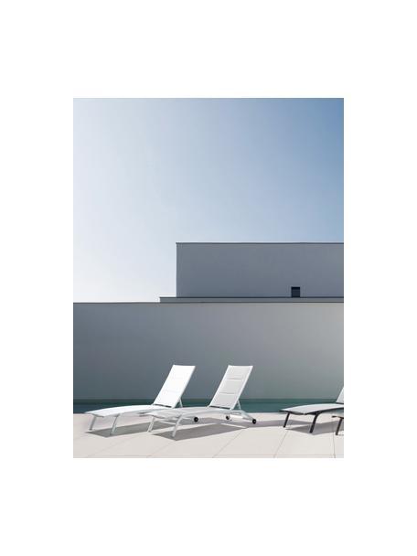 Tumbona de jardín Cleopas, Tapizado: 100%poliéster, Estructura: aluminio con pintura en p, Blanco, L 192 x An 61 cm