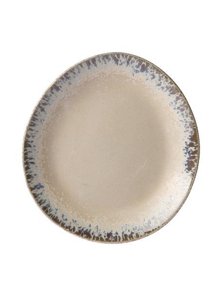 Handgemachte Frühstücksteller 70's, 2 Stück, Steingut, Beige, Grau, Ø 22 x H 2 cm