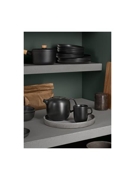 Frühstücksteller Nordic Kitchen in Schwarz matt, 4 Stück, Steingut, Schwarz, matt, Ø 21 cm