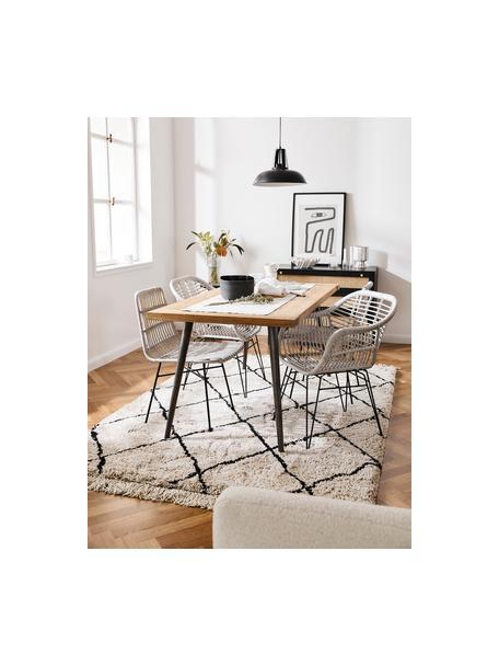 Polyrotan stoelen Costa, 2 stuks, Zitvlak: polyethyleen-vlechtwerk, Frame: gepoedercoat metaal, Grijs, zwart, B 47 x D 61 cm