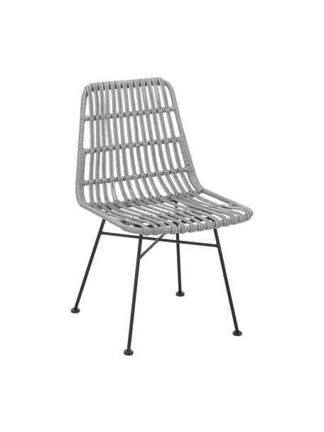 Krzesło z polirattanu Costa, 2 szt., Stelaż: metal malowany proszkowo, Szary, nogi: czarny, S 47 x G 61 cm