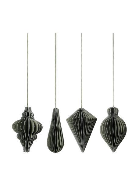 Baumanhänger-Set Winnie H 7 cm, 4 Stück, Grün, Silberfarben, Ø 5 x H 7 cm