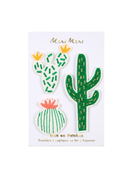 Patch-Set Cactus, 3-tlg., Baumwollcanvas, Grün, Weiss, Rosa, Gelb, Set mit verschiedenen Grössen