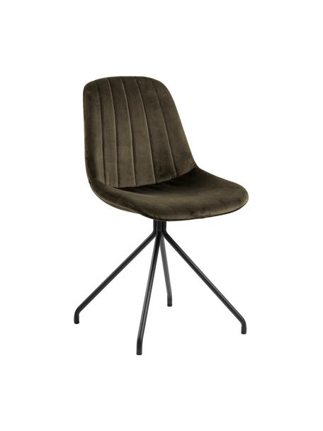 Fluwelen stoel Eva in groen, Bekleding: polyester fluweel, Poten: gelakt metaal, Donkergroen, zwart, 54 x 47 cm