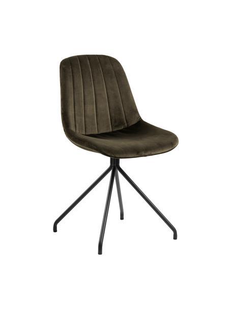Krzesło tapicerowane z aksamitu Eva, Tapicerka: aksamit poliestrowy Dzięk, Nogi: metal lakierowany, Ciemny zielony, czarny, S 54 x G 47 cm