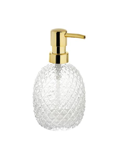 Dosificador de jabón Diamond, Recipiente: vidrio, Dosificador: metal, recubierto, Transparente, Ø 9 x Al 16 cm